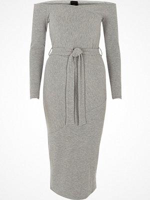 River Island Light Grey bardot tie waist midi dress