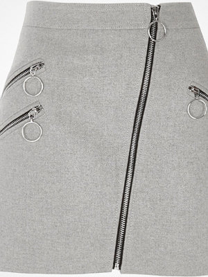 River Island Grey ring pull zip pocket A line mini skirt