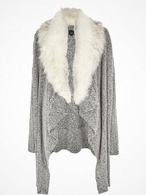 Cardigans - River Island River Island Womens Grey faux fur collar waterfall cardigan