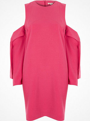 River Island River Island Womens Bright Pink cold shoulder swing dress