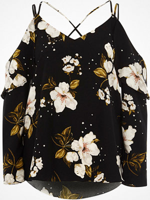 River Island River Island Womens Black floral frill cross back bardot top