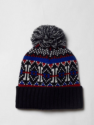 Mössor - River Island Navy Fairisle knit bobble beanie hat
