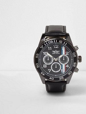 Klockor - River Island Black faux leather stripe face bezel watch