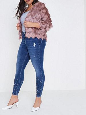 River Island Plus Blue hem embellished Amelie skinny jeans