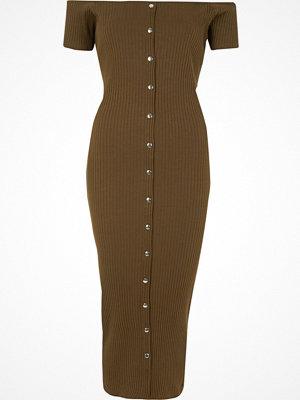 River Island Khaki bardot button-up bodycon maxi dress
