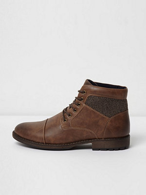 River Island River Island Mens Brown lace-up work boots