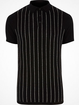 Pikétröjor - River Island Black glitter stripe knitted polo shirt