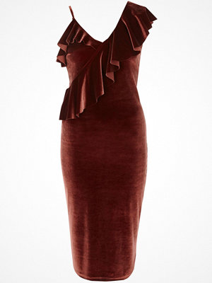 River Island Rust Pink one shoulder velvet midi dress