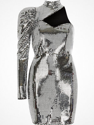 River Island Silver mirror sequin one sleeve cut out dress
