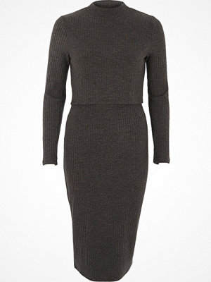 River Island Dark Grey ribbed high neck layered midi dress