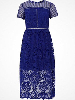 River Island Bright Blue floral lace waisted midi dress