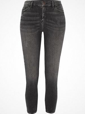 River Island Petite Grey Amelie distressed skinny jeans