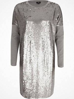 River Island Silver sequin oversized long sleeve T-shirt