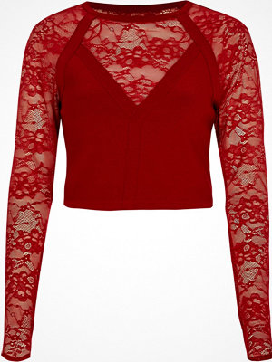 River Island River Island Womens Red lace long sleeve crop top