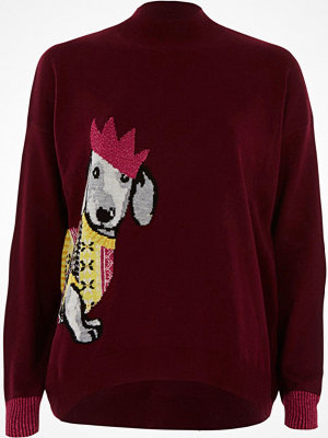 River Island River Island Womens Red Christmas sausage dog high neck jumper
