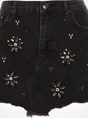 River Island Black gem embellished frayed hem denim skirt