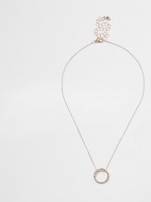 River Island halsband Rose Gold tone diamante pave circle necklace