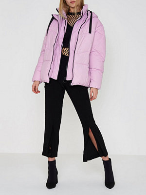 River Island River Island Womens Purple faux fur trim oversized puffer jacket
