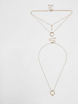 River Island halsband River Island Womens Gold tone circle pave necklace set