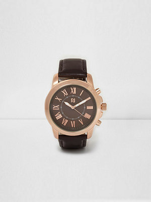 Klockor - River Island Dark Brown and rose gold round face watch