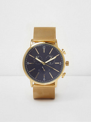 Klockor - River Island River Island Mens Gold tone mesh strap watch