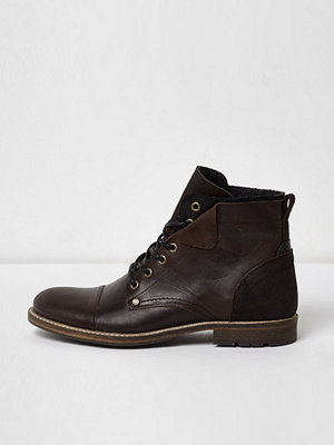 River Island River Island Mens Dark Brown leather turn-down military boots