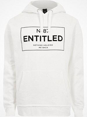 Street & luvtröjor - River Island River Island Mens White 'entitled' print oversized hoodie