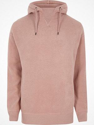 Street & luvtröjor - River Island River Island Mens Pink fleece hoodie