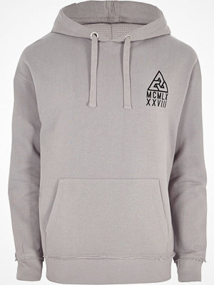 Street & luvtröjor - River Island River Island Mens Light Grey flocked logo oversized hoodie