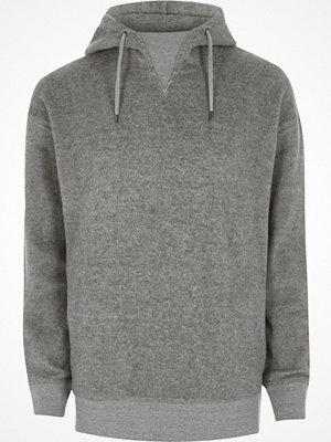 Street & luvtröjor - River Island River Island Mens Grey fleece hoodie