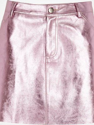 River Island Pink metallic faux leather mini skirt