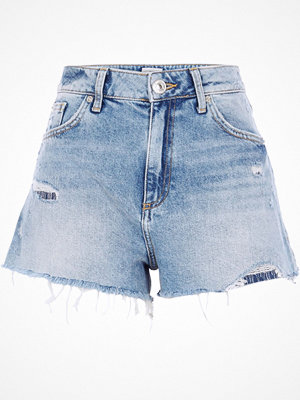 River Island Mid Blue distressed high waisted shorts