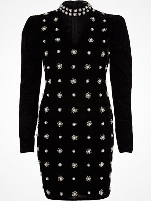 River Island Black velvet faux pearl choker bodycon dress