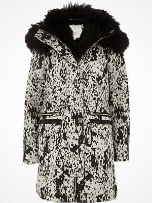 River Island Black jacquard faux fur trim parka