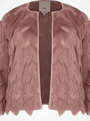 River Island River Island Womens Plus Pink three quarter sleeve fringe jacket