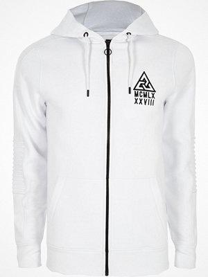 Street & luvtröjor - River Island River Island Mens White biker panel sleeve muscle fit hoodie