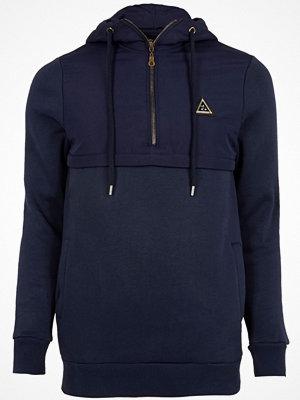 Street & luvtröjor - River Island River Island Mens Navy nylon panel half zip hoodie