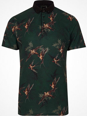 Pikétröjor - River Island Dark Green bird print slim fit polo shirt