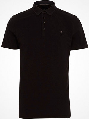 Pikétröjor - River Island Black slim fit short sleeve polo shirt