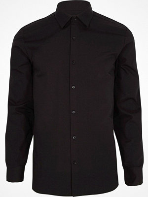 Skjortor - River Island Big and Tall Black long sleeve shirt