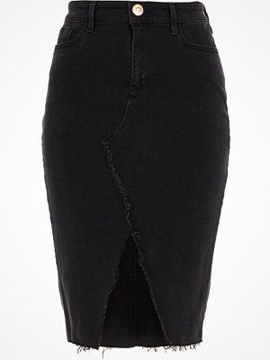 River Island Black frayed seam denim pencil skirt