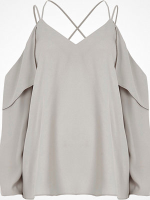 River Island River Island Womens Grey cold shoulder cross neck blouse