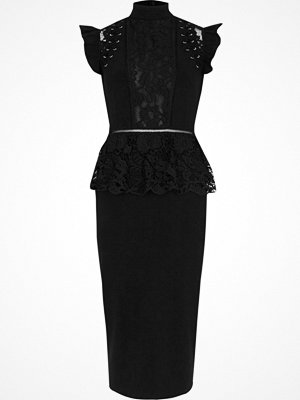 River Island Black eyelet lace peplum bodycon midi dress