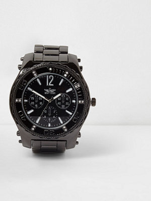 Klockor - River Island Grey gunmetal tone chain link bezel watch