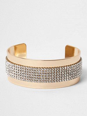 River Island armband River Island Womens Gold tone diamante heatseal cuff bracele