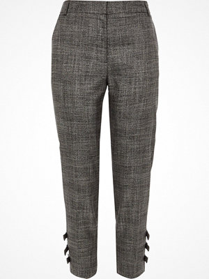 River Island grå byxor Petite Grey check bow hem tailored trousers