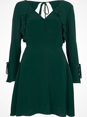 River Island River Island Womens Petite dark Green long sleeve tea dress