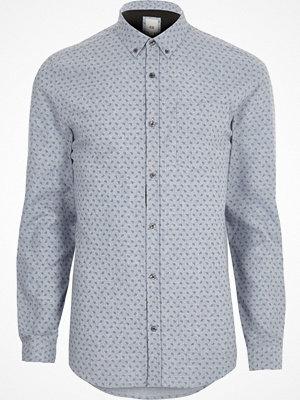 River Island Blue paisley long sleeve slim fit shirt