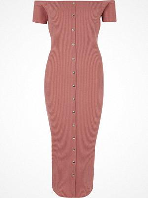 River Island Pink bardot button-up bodycon maxi dress