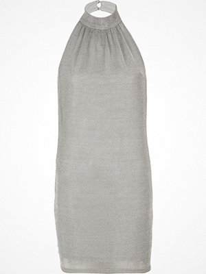 River Island Silver chainmail halter neck mini dress